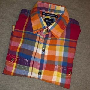 Short sleeve button up bright colorful plaid (S)